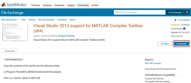 MATLAB R2013aのcompilerをVisual C++ 2013にする